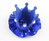 Wholesale Hat Accessories Order - mix order Newborn 3D Felt Baby Crown sequin ballerina Flower For Girls Hair accessories Glitter Felt Crown For First Birthday Hat hair clips