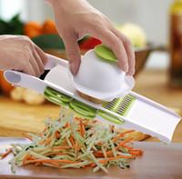 Wholesale multi slicer grater resale online - 5 in Multi function Plastic Vegetable Fruit Slicers Cutter Adjustable Stainless Steel Blades ABS Peeler Grater Slicer