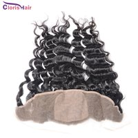 Wholesale Deep Wave Top Base Closure - Unprocessed Silk Base Lace Frontal Closure Brazilian Deep Curly Wave 13x4 Silk Top Ear To Ear Full Lace Frontals Brazillian Hair Pieces
