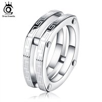 Wholesale Two Fingers Ring Men - Square Fashion 316L Stainless Steel Rings Two Circles Great Wall Pattern Titanium Steel Men Women Finger Ring GTR13