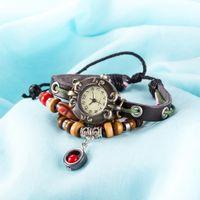 Wholesale Cow Leather Wrap Watch - Vintage Retro Luxury Quartz Wristwatches Fashion Weave Wrap Around Cow Leather Bracelets Bangles with Pendant Womens Girls Watches