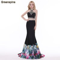 Wholesale Natural Cloth Dyes - Greenspine Halter Two Pieces Long Mermaid Luxury Evening Dresses 2017 Made By Dyeing Cloth Robe de Soiree Abendkleid Vestido de Festa