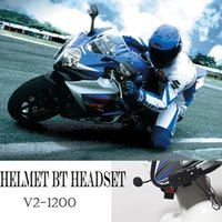 Wholesale Motorcycle Helmets Mp3 - BT 1200M Motorcycle Interphone Waterproof Wireless Bluetooth Motorbike Helmet Intercom Full Duplex Headphone Headset cellphone MP3 GPS