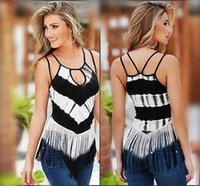 Wholesale Sling Shirts - Sexy Hollow Sling Long Shirt Women Fashion Tops 2016 Summer Striple Sleeveless Patchwork T Shirt For Women Plus Size Tassel t-shirt 0614