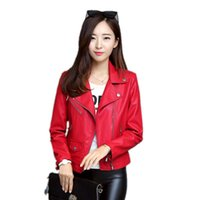 Wholesale Korean Paragraph Motorcycle Jacket - new coat women's motorcycle leather short paragraph Korean Slim zipper large size lapel jacket street