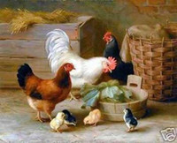 Wholesale The rooster and chicken Genuine High Quality Handpainted Art oil Painting On Thick Canvas Museum Quality in Multi Size chosen