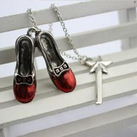 Wholesale Alice Shoes - ALICE ERd Shoes Star ALice Adventures In Wonderland Magic Wand Charm Pendants Necklaces Statement Film Jewelry