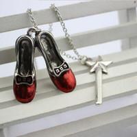 varita mágica colgante al por mayor-ALICE ERd Shoes Star ALice Adventures In Wonderland Varita mágica Charm Colgantes Collares Joyería Declaración de la película