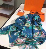 Wholesale Twill Silk Scarf Blue - 2017 New Fashion Brand Twill Silk Scarf Women Scarves Lady Shawls Wraps Bird Paradise Handmade Hemming 140*140cm