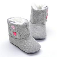 bottes en crochet nouveau-né achat en gros de-Nouveau Hiver Super Chaud Nouveau-Né Fille Bébé Prewalker Garder Au Chaud Chaussures Bottes Infant Toddler Princesse Bebe Crib Neige Tricoter Butin fit pour 0-3T