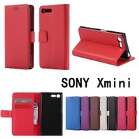 Wholesale Xperia Z Wallet Flip Case - For Sony Xperia XZ Z mini Cases Wallet Card Stent Lichee Litchi Pattern Flip Leather Covers Protect Cover for Sony Zmini