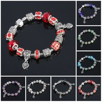 Wholesale cheap murano glass jewelry - Murano Glass Beads Bracelets Valentine's Gift Murano Glass Crystal Jewelry Bracelet Bangle Silver Jewelry Cheap Murano Glass Charms Bracelet