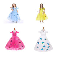 Wholesale Girls Butterfly Gown - Girls butterfly lace snowflake Elsa cinderella dress 201 fancy costumes for kids blue gown Halloween baby girl butterfly dress 5 Layers