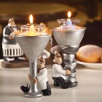 Wholesale Statues For Home - Cute Cook Statue Candle Holder Pair Ornamental Chef Candlestick Craft Ornament Accessories for Home, Cafe, Restaurant and Club