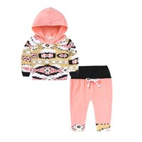 Wholesale Toddler Hoodies For Girls - Kids Clothing Sets Geometric Print Baby Clothes for Girls Outfits Toddler Fashion Hoodie Pants Boutique Children Suits New