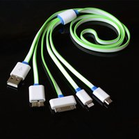 Wholesale Iphone 1m Flat - 4 in 1 1M Flat noodle USB Cable Sync Data Charger For iphone 7 6 5 huawei Xiaomi For Samsung s6 s5 PC