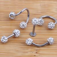 bone jewelry toptan satış-Kristal Shabamball Topu Dudak Burun Kulak Tragus Septum Halka Büküm Göbek Bar Kulak Kemik kaş Kıkırdak Küpe Vücut takı