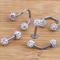 Wholesale piercing cartilage - Crystal Shabamball Ball Lip Nose Ear Tragus Septum Ring Twist Belly Bar Ear Bone eyebrow Cartilage Earring Body jewelry