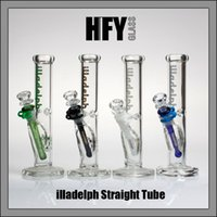 """Wholesale Glass Tubes For Smoking Pipes - illadelph 2016 New 10"""" bong perc bowls for hookahs Straight Tube glass water pipes oil rig 14.4mm joint bongs smoking pipe Free Shipping"""