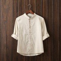 Wholesale Flax Color - Wholesale-2016 New Autumn Fashion Brand Men Thanks Flax Pure Color Man's Shirt Seven Chinese Style Shirt Sleeve grey Beige Blue Army