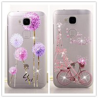 Wholesale Huawei Ascend 3d Cases - Wholesale-Crystal Rhinestone Bling For Huawei G8 Case, Case Protector Cover For Huawei Ascend G8 D199 (Maimang 4) 3D Diamond Phone Bags