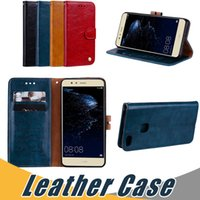 Wholesale Huawei Flip Case - For Huawei P10 9 8 Lite Y5 II Oil Wax Leather Case with Wallet Card Slot Flip Stand Case For Redmi 3s 4X Samsung J3 J5 2017