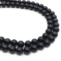 Wholesale Black Stone Loose Beads - 6mm 8mm 10mm Fashion Black Onyx beads Round Gemstone DIY Loose Stone Beads Jewelry Making Beads Wholesale Full Strand 15inch