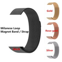 Wholesale Black Metal Strap Watches - Stainless Steel Magnetic Milanese Loop Band Straps For Apple Watch Mesh Metal Strap Watchband Replacement With Adapter Connector 38mm 42mm