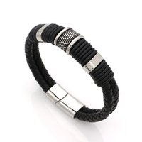 Wholesale Bicycles East - Super Cool Genuine Leather Weaved Double Layer Man Leather Bracelets Casual Sporty Bicycle Motorcycle Delicate Cool Men Jewelry