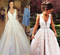 Wholesale Coral Special Occasion Dress - Champagne Long Evening Dresses 2016 New Modern V neck Lace Applique Tulle Backless Special Occasion Gowns Hot Sale Prom Pageant Dress 2016