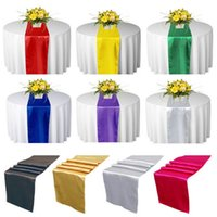 "Wholesale Satin Wedding Table Cloths - Satin Table Runner Runners 12"" x 108"" Wedding Decoration Supply Party Decor Decoration Cloths tablecloth Silk Organza Holiday christmas"