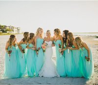 Wholesale Turquoise Beach Dresses - Turquoise 2017 Bridesmaid Dresses Beach Party Dresses With A Line Ruffle Sweetheart Zip Floor Length Chiffon Cheap Sale Bridesmaid Gowns