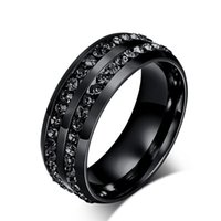 Wholesale wholesale titanium black diamond rings - Fashion stainless steel jewelry 4 colors diamond rings Korean titanium steel men's wedding band mens rings