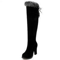 siyah dantel diz kadar yüksek bot toptan satış-Kış sıcak satış yeni gelmesi kadın çizmeler siyah akın fermuar üzerinde diz boots lace up süper yüksek bayanlar çizmeler