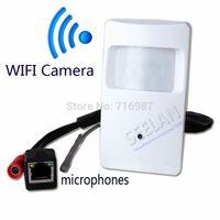 Wholesale Ip Camera Motion Detector - Hidden camera 720P WIFI Pir Motion Detector Pinhole Camera PIR Shape Pinhole WiFi Camera PIR IP Camera for 1.0 megapixel Microphones camera