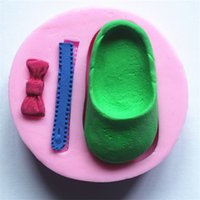 Silicone 3D Cake Mold Bonito Baby Shoes Bow Zipper Fondant Mold Bakeware chocolate sugarcraft doces moldes de sabão moule atacado