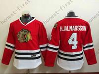 jersey de mujer chicago blackhawks al por mayor-# 4 Niklas Hjalmarsson Womens Blackhawks Jersey Home Red, Premier cosido barato Chicago Blackhawk Hockey Jerseys Shirt Mujeres
