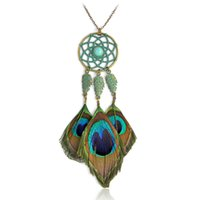 Wholesale Metal Peacock Necklace - Bohemia Peacock feather necklace Green Metal Dreamcatcher Stone Leave Long Pendant necklace for women Fashion Boho Jewelry Gift