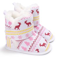 Wholesale Cartoon Shoes For Toddlers - Christmas boots for newborn kids moose snow christmas tree printed winter snow boots toddler kids cartoon animal fleece warm shoes T0575
