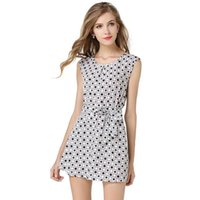 Polka Dot Women Dress Casual Work Платье O-Neck Porm Club Travel Party Sexcy Chiffon Mini White Plus Женская вечеринка Beach Vestidos