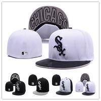 ingrosso cappelli da baseball-Berretto da baseball a buon mercato White Sox Berretto da baseball ricamato a forma piatta Cappello a tesa piatta Berretto da baseball White Sox Taglia