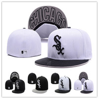 Wholesale White Sox Hat Fitted - Cheap White Sox Fitted Caps Baseball Cap Embroidered Team Size Flat Brim Hat White Sox Baseball Cap Size