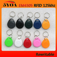 Wholesale Em Proximity Card - EM4305 Copy Rewritable Writable Rewrite EM ID keyfobs RFID Tag Key Ring Card 125KHZ Proximity Token Access Duplicate