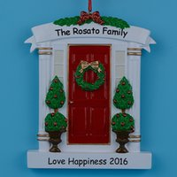 Wholesale Holiday Christmas Wreaths - Red Home Door Polyresin Personalized Christmas Tree Ornaments With Wreath And Pine Tree For Holiday New Year Gifts Home Decorations