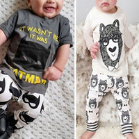 Wholesale boy tee shirts cotton resale online - Ins Baby Two piece Clothing Sets Little Monster Printed Cartoon Short Long Sleeve T shirt Pants Boy Girls Tee Shirts Trousers M