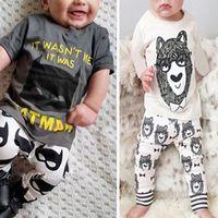 karikatur gedruckte t-shirts für mädchen großhandel-Ins Baby Zweiteilige Kleidung Setzt Kleine Monster Gedruckt Cartoon Kurz Langarm T-shirt Hosen Jungen Mädchen T-shirts Hosen 0-24 Mt