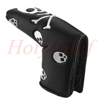 Headcover blade headcover - Black white Leather Skull CrossBones Headcover Golf Blade Putter Cover putter grip cover