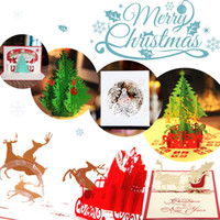 Wholesale Christmas Tree Postcards - Vintage 3D Pop Up Greeting Card Vintage Merry Christmas Cards Gifts Tree Postcards Pack Of 6Sd -6