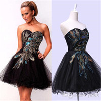 Wholesale Black Prom Dresses Short Peacock - Cheap Little Black Short Peacock Cocktail Party Dresses 2016 under 100 Sexy Sweetheart Ruched Tulle Corset Prom Gowns with Lace up