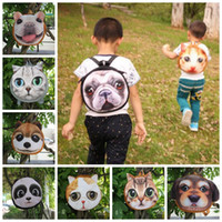 Wholesale coins backpack style for sale - Group buy 3D Cute Cat Dog Face Backpacks Cat Dog Animal Pattern Kids Bags Coin Purse Styles LJJO3325